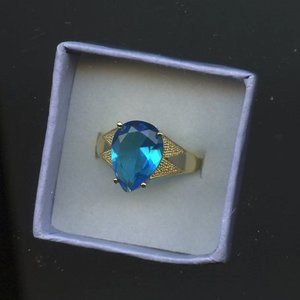 Ring Blue Topaz-Sapphire, Pear Shape Size 6.5